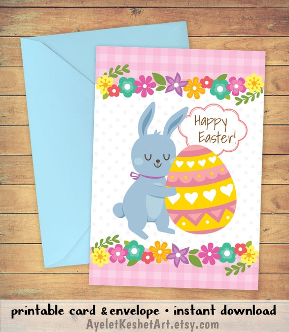 graphic about Printable Easter Card referred to as Printable Easter card with a bunny and an Easter egg. Adorable \