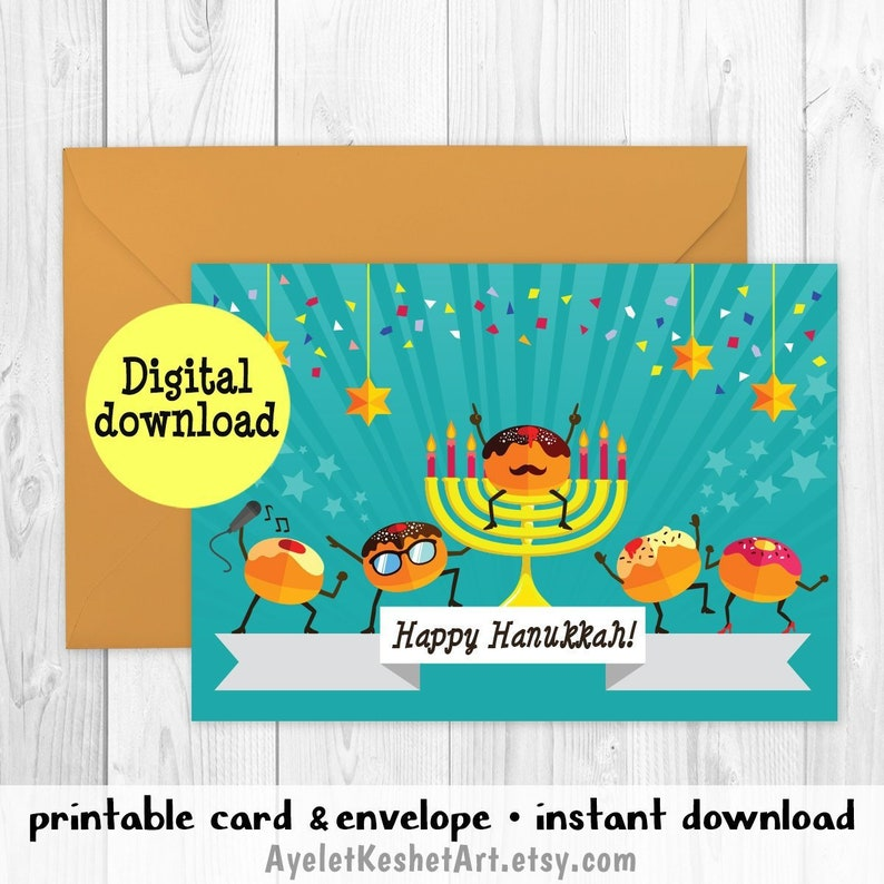 image about Printable Hanukkah Card referred to as Humorous Hanukkah card - Social gathering Donuts with a menorah Satisfied Hanukkah Printable greeting card + envelope fast obtain A6 electronic card