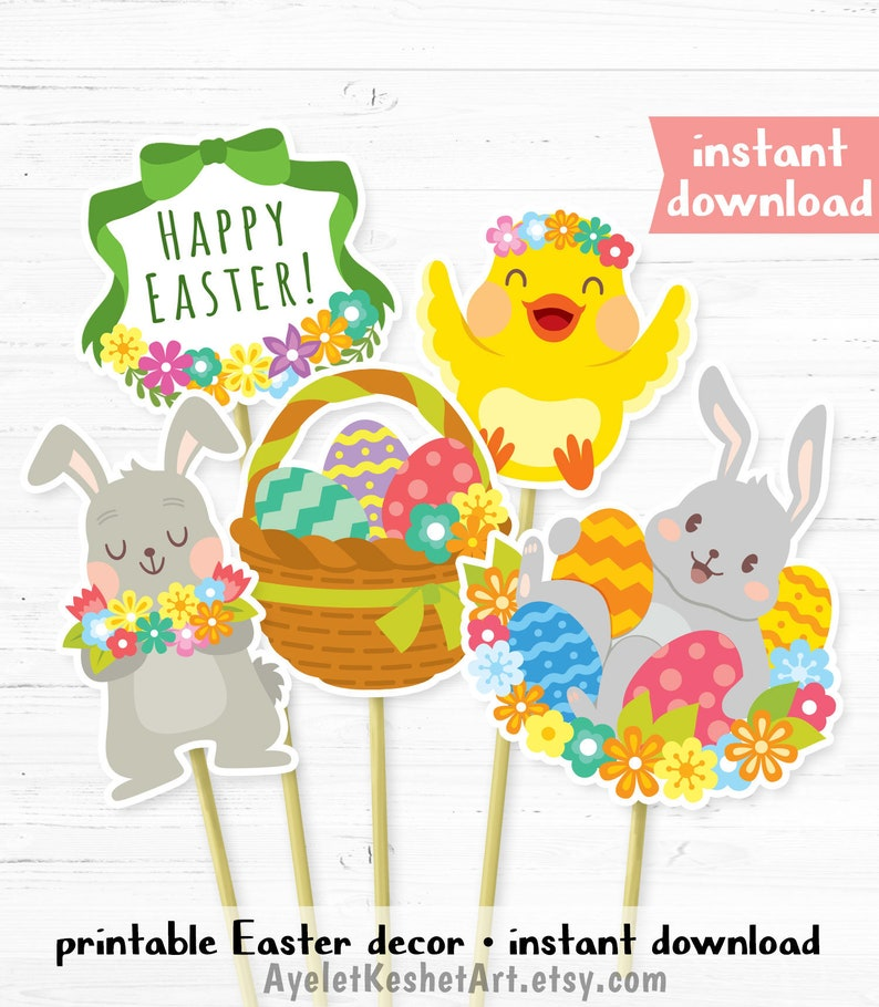 graphic relating to Printable Easter Decorations named Printable Easter decorations centerpieces or banner printables for Easter social gathering. 5 adorable examples, double-sided. Immediate down load.