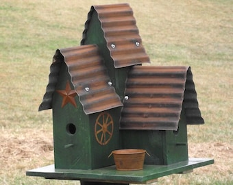 LARGE Bird House Green Triple Barn Style Bird House Hand Made Oil Stained Repurposed wood Old Re-purposed Tin with Rusty Star