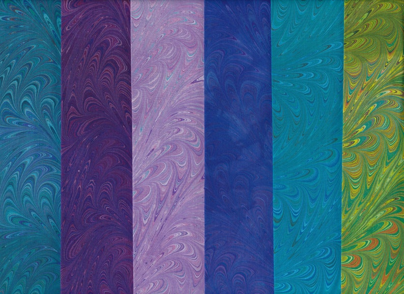 Hand Marbled Summer Waved Icarus Fabric Set