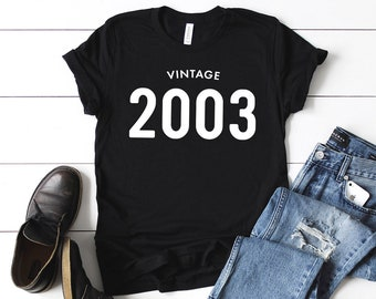 67f10fd70 16th Birthday Shirt Vintage 2003 T Shirt - Personalized Gift Idea for Men  and Women Short Sleeve Casual Jersey 00s Retro Graphic Tee Shirt