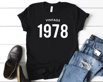 561c2fbcd 41st Birthday Shirt Vintage 1978 T Shirt - Personalized Gift Idea for Men  and Women Short Sleeve Casual Jersey 70s Retro Graphic Tee Shirt