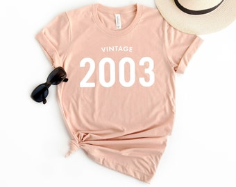 0dc87d360 16th Birthday Shirt Vintage 2003 T Shirt - Personalized Gift Idea for Women  and Men Short Sleeve Casual Jersey 00s Retro Graphic Tee Shirt