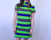1960 39 s Striped Loomtogs Mini Dress with Turtleneck Margot Tenenbaum Dream Dress Small