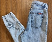 Early 39 90 39 s Super Acid Wash Jordache Skinny Jeans Ultra High Waist and Ankle Zippers 30 quot Waist
