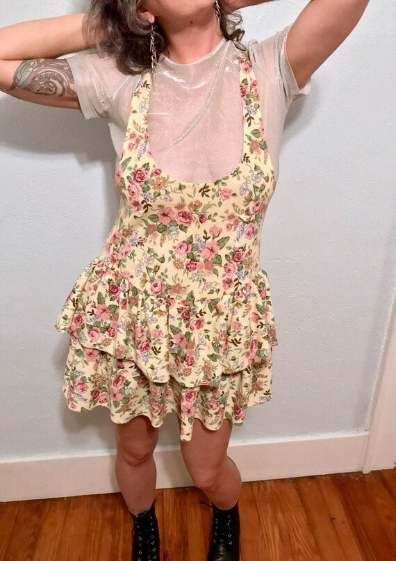 Late 1980's Floral Romper Dress with Tiered Skirt