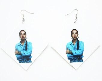 Sade Adu, Sade, quiet storm, smooth jazz, vintage inspired, retro styled black and white, earrings / Sade Gift / Diamond Shaped Earrings