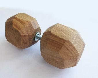 Oak Wood Door Knob, Wooden Door Handle, Drawer Handle for Glass Door, Wood Door Pull, Rustic Home Decor