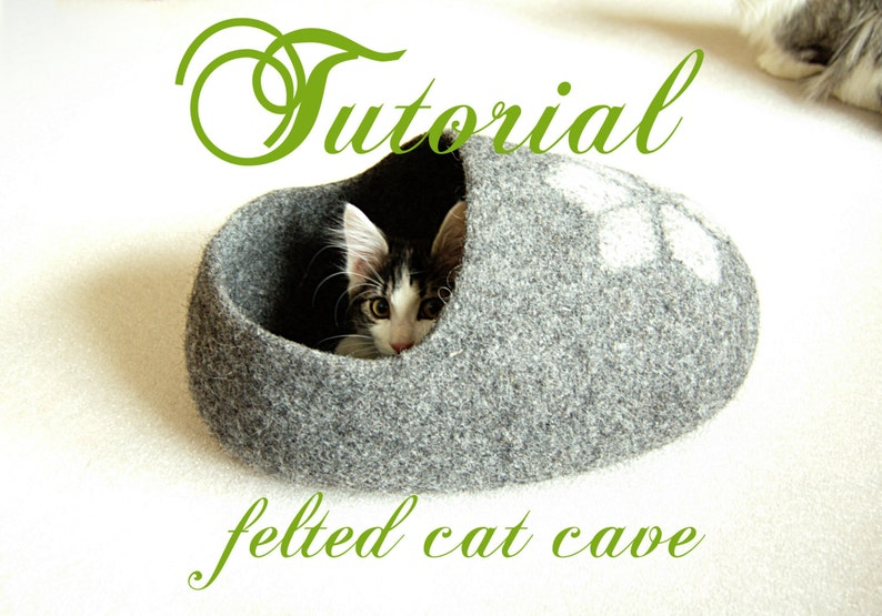 Cat bed pattern for a clog shaped cat cave  felt cat cave image 0