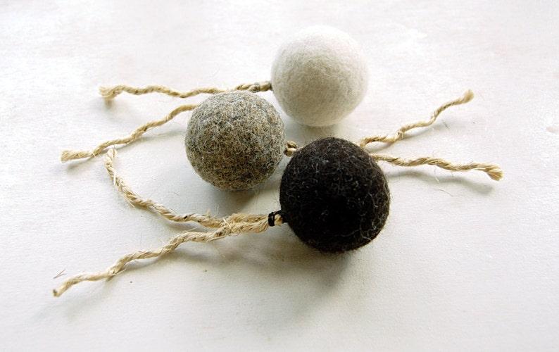 Felt organic catnip ball with tail Set of THREE  felt balls image 0
