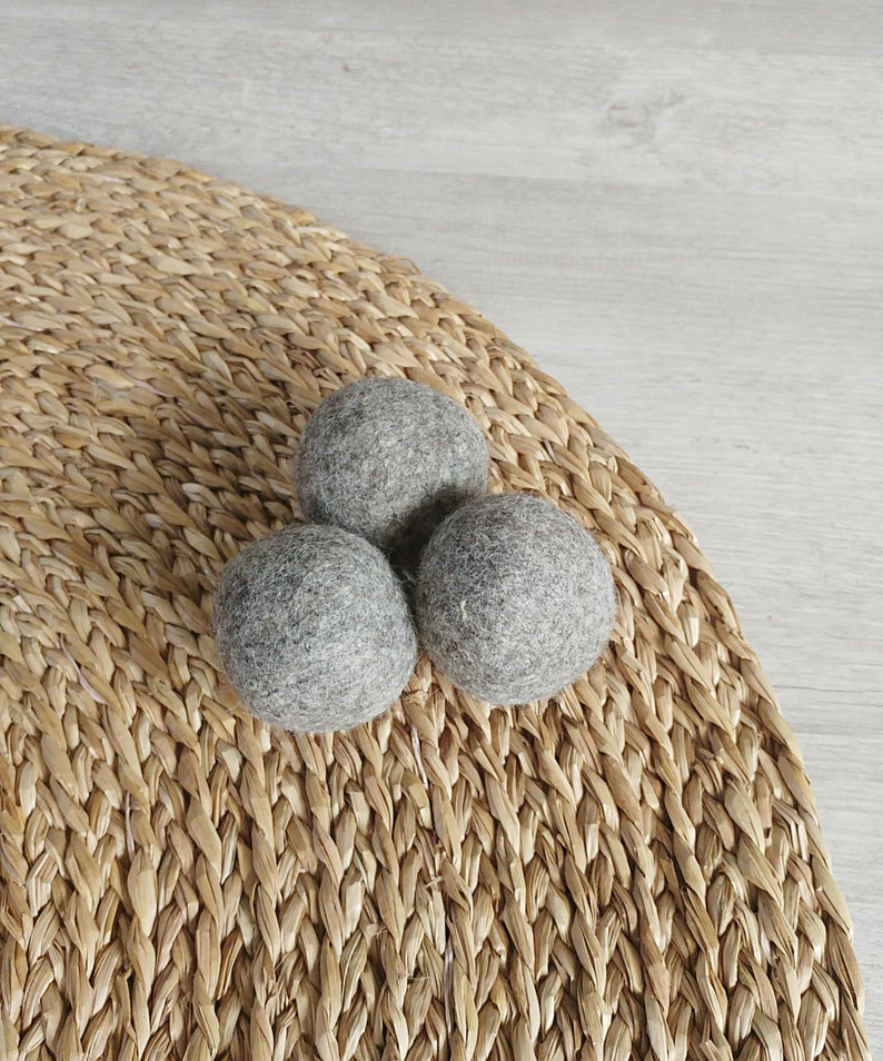 Cat Toy Felt balls a set of 3 in gray  catnip infused cat image 0