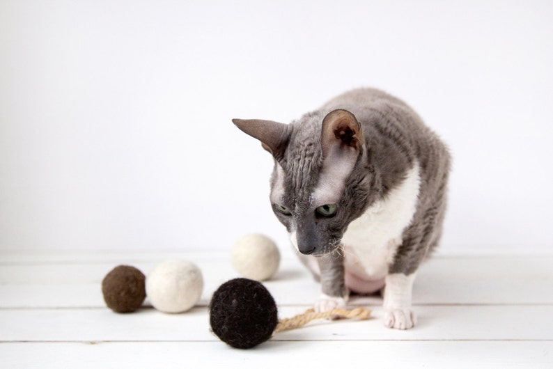 Cat toy felted ball with sisal rope dark brown  felted cat image 0