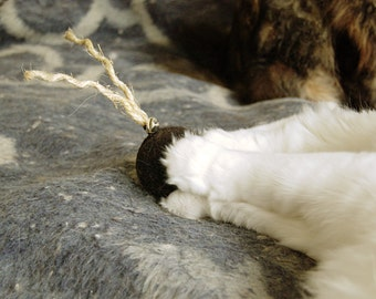 Felt organic catnip ball with tail and bell in brown Set of THREE - felt balls with sisal tails and jingle bells - cat toys