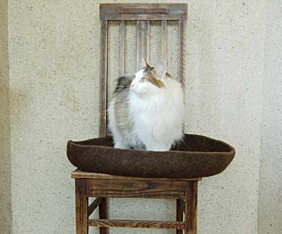 Lit moderne de chat feutré rond laine marron respectueux de l'environnement