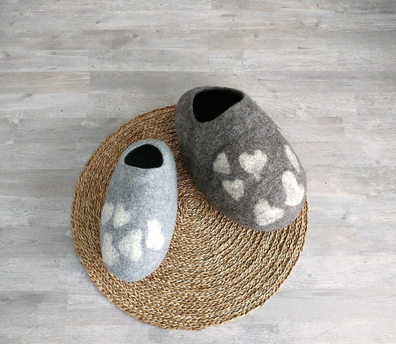 Gray Cat cave with hearts  Pet bed  Cat house  Cat bed  image 0