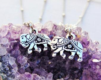 Elephant charm necklace, Elephant necklace, Lucky Elephant jewelry, Silver Elephant necklace, Yoga Jewelry, Yoga Necklace, Buddhist Necklace