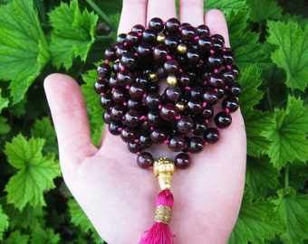 Garnet Mala Beads, 108 Mala Necklace, Gemstone Mala, Buddhist Prayer Beads, Yoga Meditation Necklace, Boho Tassel Mala, Japa Mala
