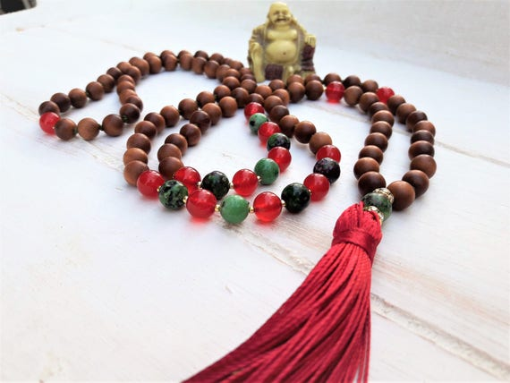 picture jasper 108 mala necklace stretch wrap  gemstone wrap  yoga energy  meditation beads power bead om