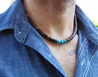 Mens Beaded necklace, Men's surfer necklace, Surfer necklace, Mens coco shell necklace, Mens wood bead necklace, Turquoise Necklace