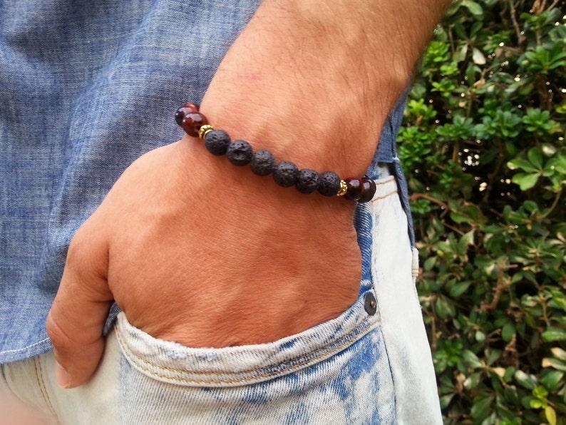 Mens Bracelet*Tiger eye bracelet*Lava Stone Bracelet*Protection Bracelet*Yoga bracelet*Stretch Bracelet*Yoga Jewelry*Yoga Gifts