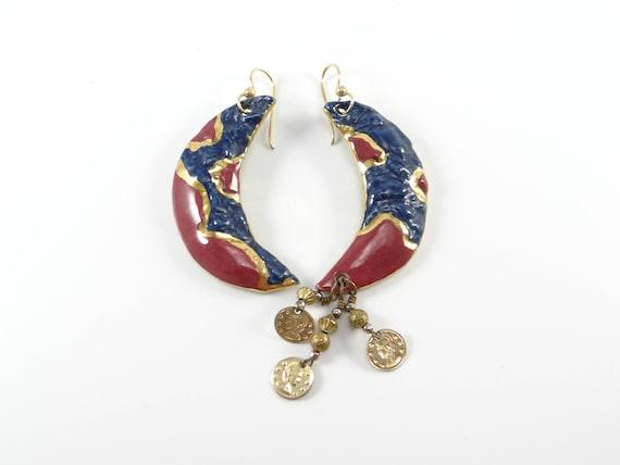Roman Moon Earrings, Unique moon earrings, Moon Da