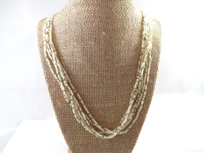 Trifari Small Beads Necklace White Gold Beaded Necklace Trifari Necklace