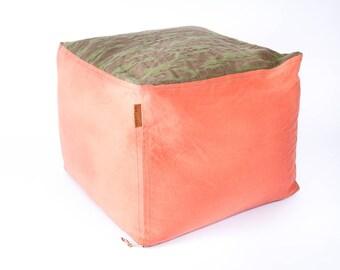 "Waxed Orange Canvas and Green Camo HUNTER ""Campfire"" Pouf Indor/Outdoor Mancave"