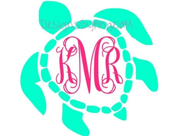 31493c88e2a136 Sea turtle Monogram Initials SVG Digital Download Instant Download- Cricut-  Silhouette cutting machine - Svg Png Dxf Eps Files handmade