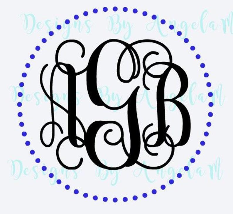63d132b7ee9b88 SVG Circle Dot Frame Monogram Initials SVG Digital cutting