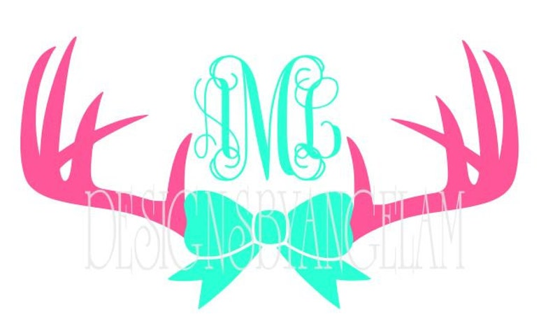 Deer Antlers Bow Monogram Initials Svg Digital Cutting Etsy
