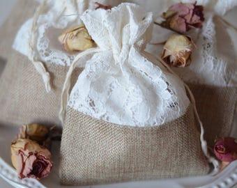 Lace & Burlap Drawstring Bag