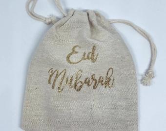 Eid Mubarak Glitter Drawstring Bag