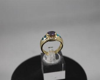 Ring AMETHYST 925 Sterling Silver Size 6 KABANA Vintage 3 Carat Solitaire drR