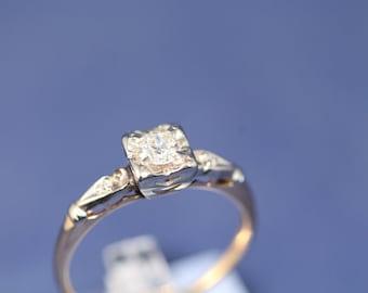 50% Off Vintage Old European Cut Diamond Engagement Ring 1/4ct.