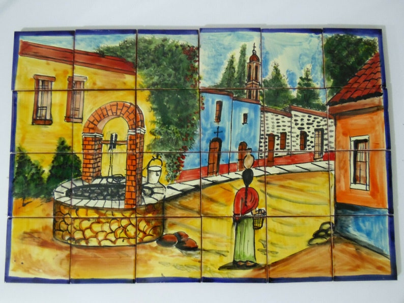 TALAVERA MOSAIC MURAL mexican tile backsplash, water well in town