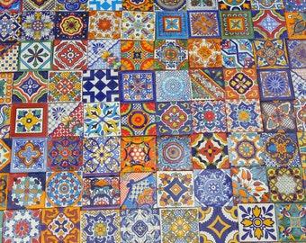 "100 MIXED DESIGNS Mexican tile handmade talavera backsplash mosaic 4 X 4"""