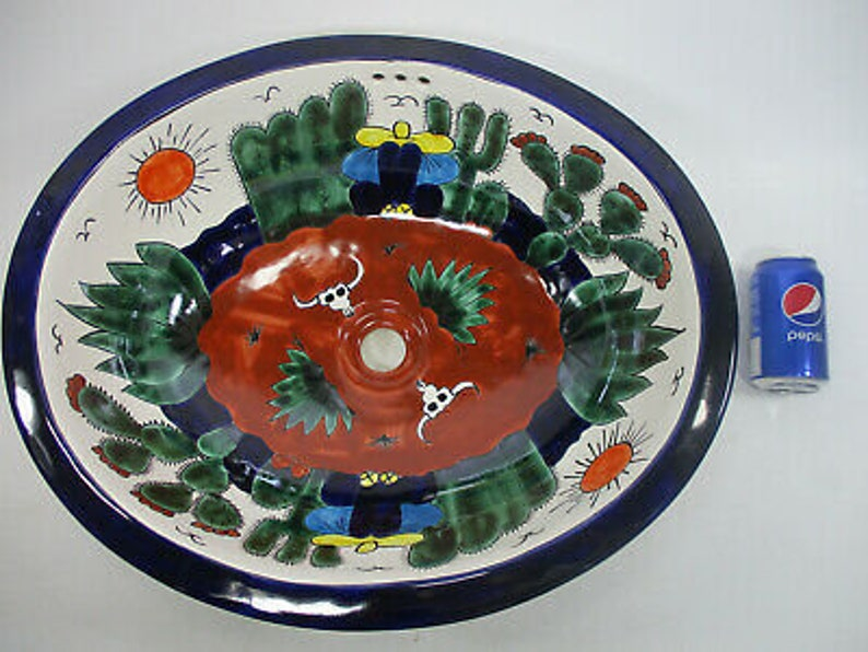 21 X 17 TALAVERA SINK drop in or undermount mexican bathroom handmade ceramic