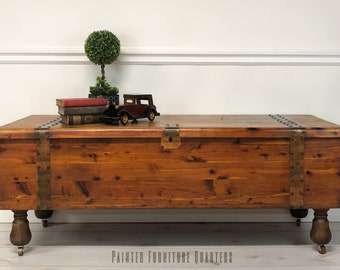 Superbe SOLD   Gorgeous Antique Cedar Chest Trunk Coffee Table On Casters