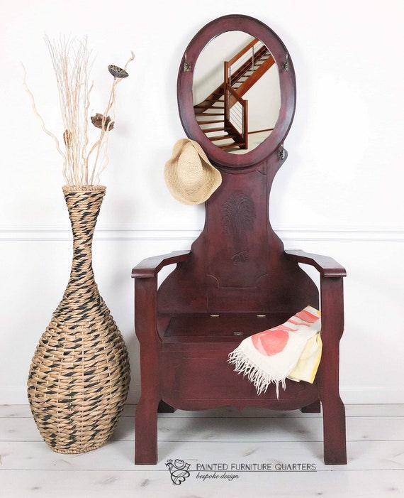 Wondrous Hall Tree Coat Rack With Bench Storage And Mirror Dark Red Hand Painted Camellatalisay Diy Chair Ideas Camellatalisaycom