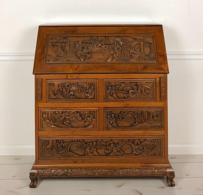 Antique Secretary Desk Etsy >> Reserved Hand Carved Vintage Solid Chinese Secretary Desk From 1930 S Teak Wood