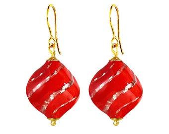 Murano Hand Blown Glass Earrings by Mystery of Venice 'Natale', Blown Glass Earrings, Murano Glass Earrings, Christmas Earrings