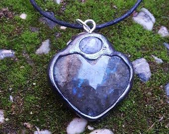 Labradorite Heart Pendant with Rainbow Moonstone