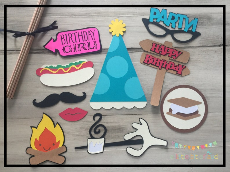 Photo Booth Props Kids Birthday Camping Party Decorations Etsy