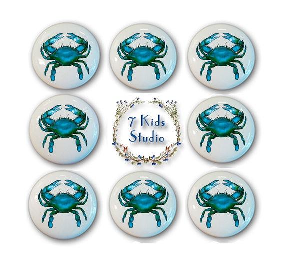 Crabe Bleu Tiroir Bouton Tiroir Tirer Poignee Commode Armoire Etsy