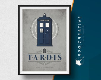 Doctor Who : Tardis Ship - TV Show Dr.Who, Movie Poster, Digital Print, Minimal Style, Geek Decor