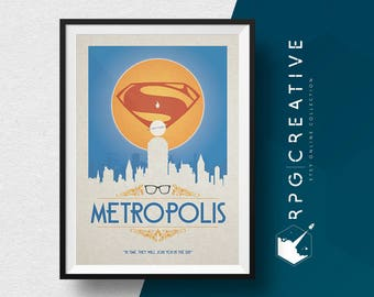 Superman : Metropolis - DC Comics, Movie Poster, Digital Print, DC Comics Gift, Krypton, Superman Poster, Clark Kent Poster