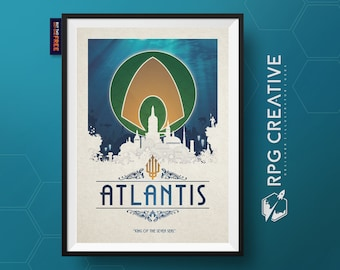 Aquaman : ATLANTIS - DC Comics   Travel Poster   Justice League   Geek Gift   Superhero Poster