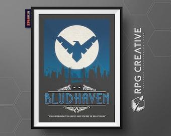 Nightwing : BLUDHAVEN - DC Comics   Travel Poster   Dick Grayson   Titans   Geek Gift