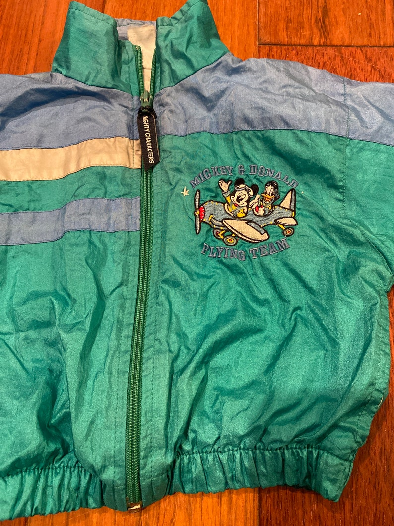 2T Vintage 90s Mickey Mouse and Donald Duck Color Block Windbreaker